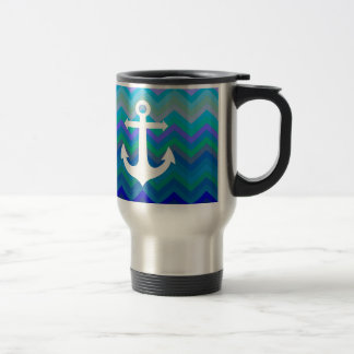 Waves & Anchor Travel Mug