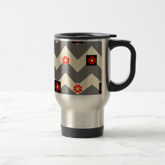 waves and flowers stainless steel travel mug