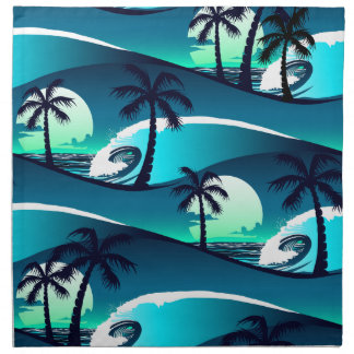 Waves and palm trees napkin