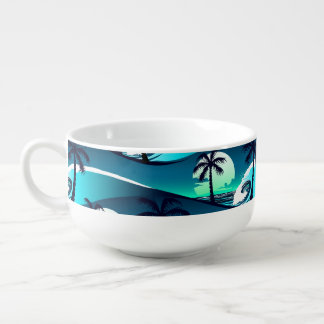 Waves and palm trees soup mug