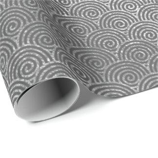 Waves Art Deco Silver Gray Spiral Circles Infinity