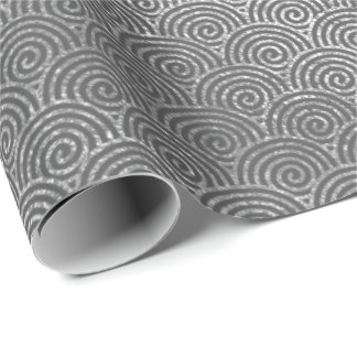 Waves Art Deco Silver Gray Spiral Circles Infinity Wrapping Paper