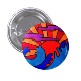 Waves at sunset 3 cm round badge