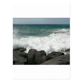 Waves Breaking On Pier Postcard