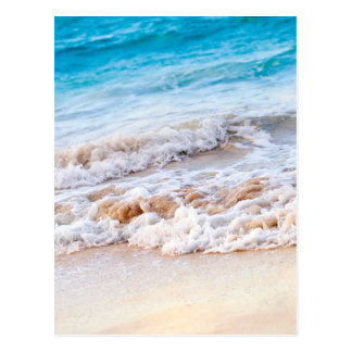 Waves breaking on tropical shore post card