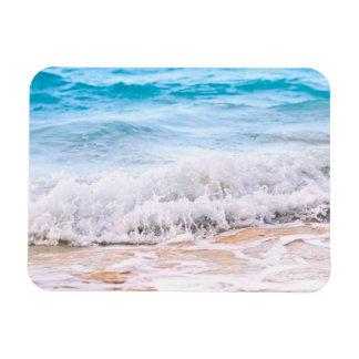 Waves breaking on tropical shore rectangular magnet