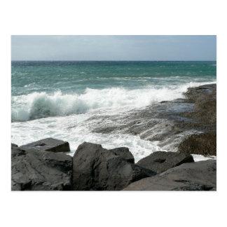 Waves Breaking Rocks Postcards