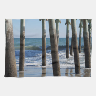 Waves Breaking Under the Pier at Myrtle Beach Tea Towel