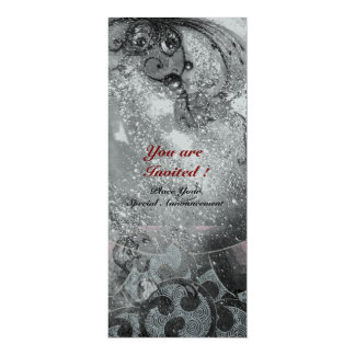 WAVES bright silver metallic black white sparkles 10 Cm X 24 Cm Invitation Card