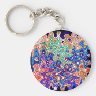 Waves Colorful Art Basic Round Button Key Ring
