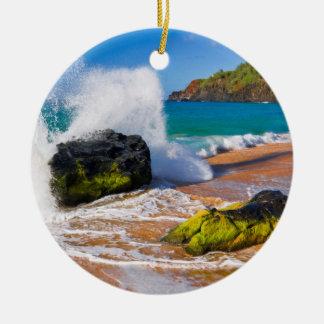 Waves crash on the beach, Hawaii Ceramic Ornament