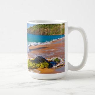 Waves crash on the beach, Hawaii Coffee Mug