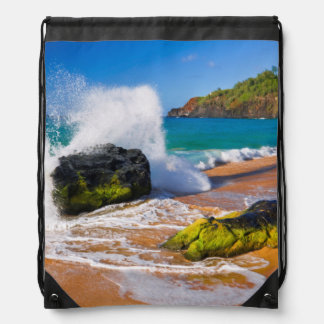 Waves crash on the beach, Hawaii Drawstring Bag