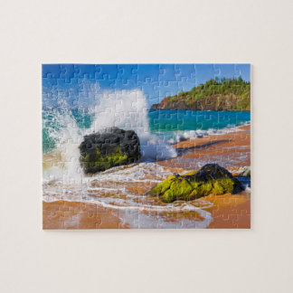 Waves crash on the beach, Hawaii Jigsaw Puzzle