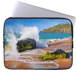 Waves crash on the beach, Hawaii Laptop Sleeve