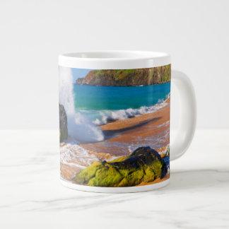 Waves crash on the beach, Hawaii Large Coffee Mug