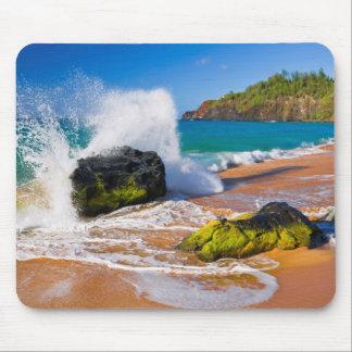 Waves crash on the beach, Hawaii Mouse Pad