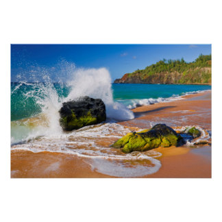 Waves crash on the beach, Hawaii Poster