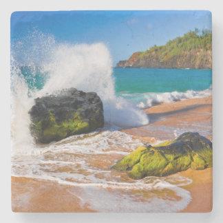 Waves crash on the beach, Hawaii Stone Coaster