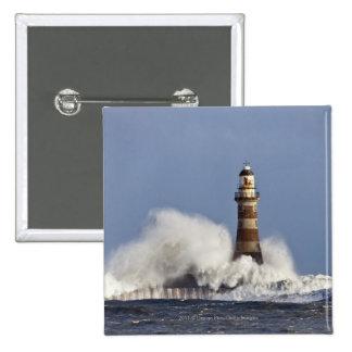 Waves Crashing Against Roker Lighthouse 15 Cm Square Badge