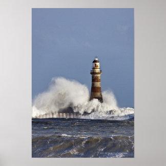 Waves Crashing Against Roker Lighthouse Poster