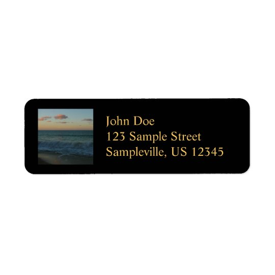 Waves Crashing at Sunset Beach Landscape Return Address Label