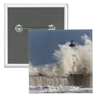 Waves Crashing Up Against A Lighthouse 15 Cm Square Badge