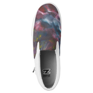 """waves"" design slip on shoes printed shoes"