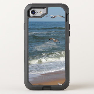 Waves Gently Rolling onto a Beach as Seagulls Soar OtterBox Defender iPhone 8/7 Case