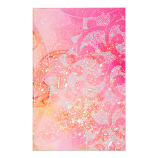 WAVES / GOLD BUTTERFLY IN PINK SPARKLES AND SWIRLS CUSTOMISED STATIONERY