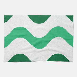 Waves Green-White American MoJo Kitchen Towels