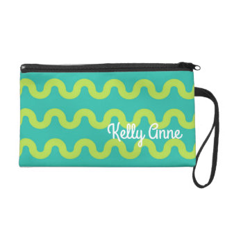 Waves in Green on Blue Personalized Wristlet