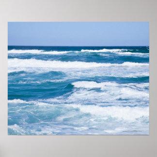 Waves in Mediterranean Sea, Mallorca, Spain Poster