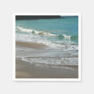 Waves Lapping on the Beach Turquoise Blue Ocean Disposable Serviette