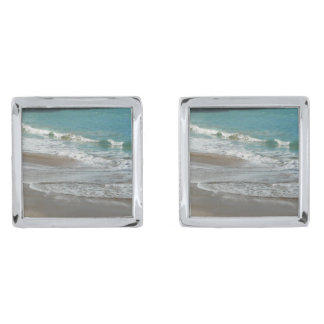 Waves Lapping on the Beach Turquoise Blue Ocean Silver Finish Cufflinks