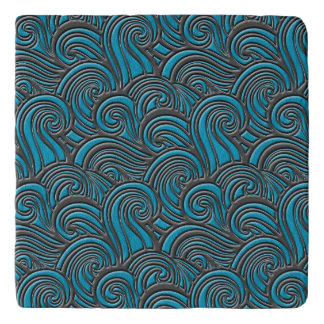 Waves Leather Pattern Blue and Gray Trivet