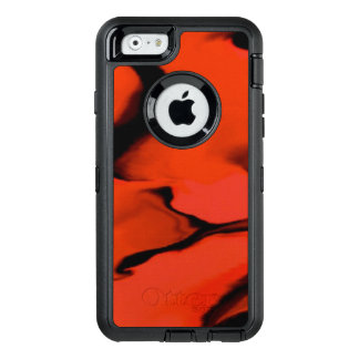 Waves of Black and Red OtterBox Defender iPhone Case