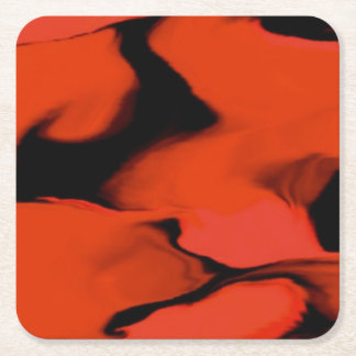 Waves of Black and Red Square Paper Coaster