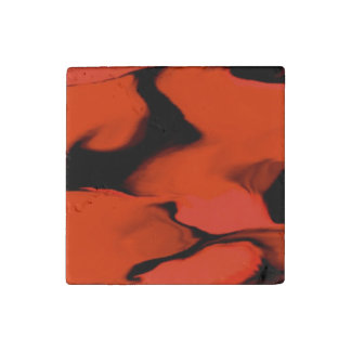 Waves of Black and Red Stone Magnet