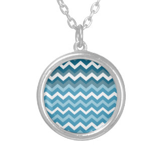 Waves of Chevron Blue Zigzags Round Pendant Necklace