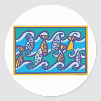 Waves of Fish Classic Round Sticker