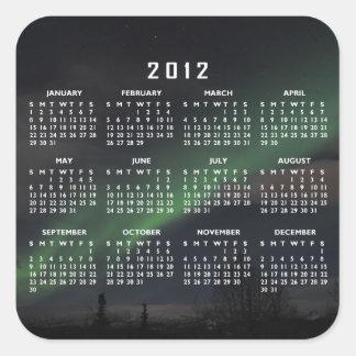 Waves of Green Light; 2012 Calendar Square Sticker
