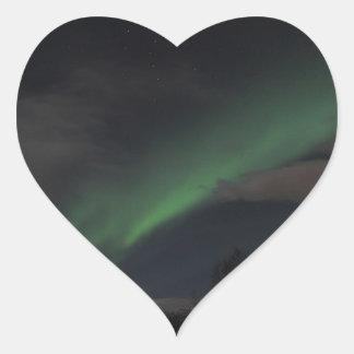 Waves of Green Light Heart Sticker