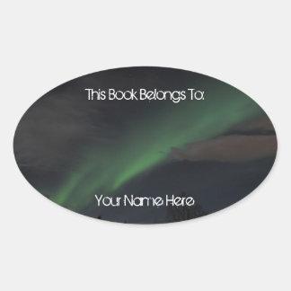 Waves of Green Light Oval Sticker