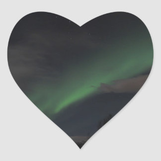 Waves of Green Light Heart Stickers