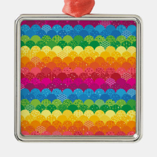 Waves of Rainbows Silver-Colored Square Decoration