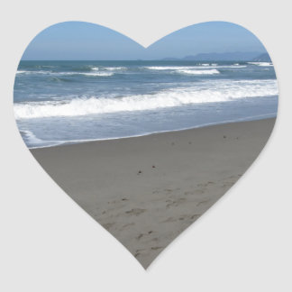 Waves of the sea on the sand beach heart sticker