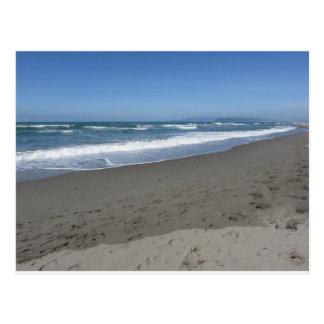 Waves of the sea on the sand beach postcard