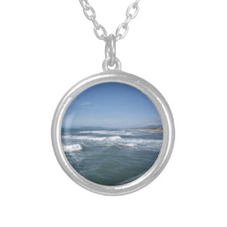 Waves of the sea on the sand beach silver plated necklace