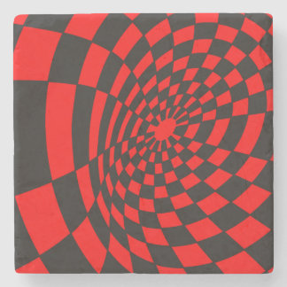Waves on a Checkerboard Stone Coaster